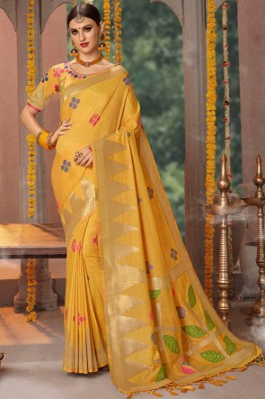 Jacquard And Cotton Fabric Yellow Zari Work And Thread Work Saree And Blouse