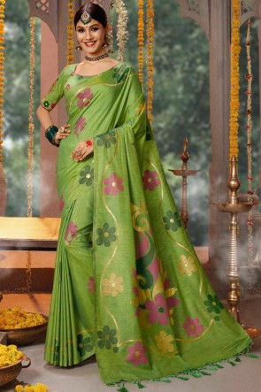 Green Cotton Zari And Jacquard Work Saree With Embroidery Work Blouse