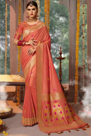 Embroidery And Thread Work Peach Jacquard Fabric Saree With Cotton Blouse