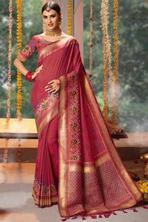 Cotton And Jacquard Fabric Maroon Zari And Thread Work Saree And Blouse