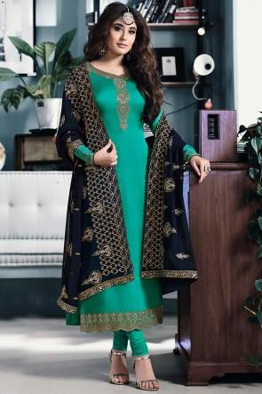 Kritika Kamra Embroidered Sea Green Georgette Satin Salwar Suit And Santoon Bottom
