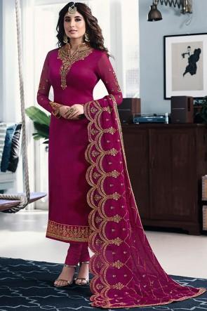 Kritika Kamra Georgette Satin Maroon Embroidered Salwar Suit With Georgette Dupatta