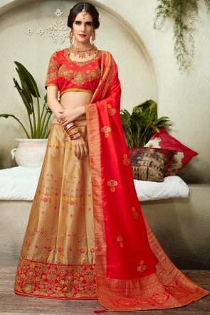 Golden Jacquard And Silk Thread Work And Embroidred Lehenga Choli And Dupatta