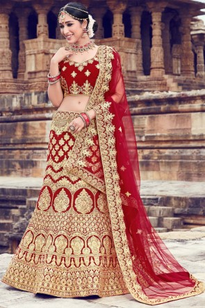 Optimum Zari And Embroidery Work Maroon Velvet Lehenga Choli With Net Dupatta