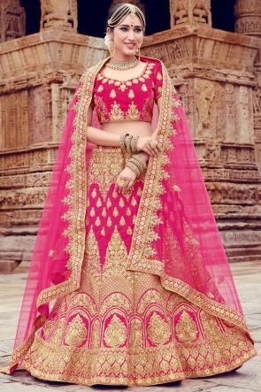 Charming Velvet Pink Embroidery And Stone Work Lehenga Choli With Net Dupatta