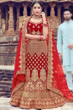 Delicate Velvet Zari And Thread Work Red Lehenga Choli With Net Dupatta