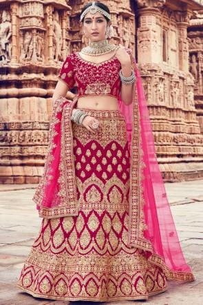Stylish Embroidery And Thread Work Magenta Velvet Lehenga Choli With Net Dupatta