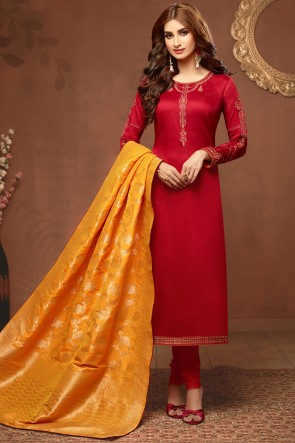 Embroidered And Stone Work Red Silk And Cotton Salwar Suit With Jacquard Dupatta