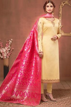 Classic Stone Work Cream Silk Designer Salwar Suit With Jacquard Dupatta