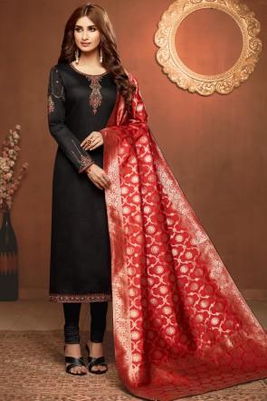 Optimum Black Cotton Embroidered Designer Salwar Suit With Jacquard Dupatta