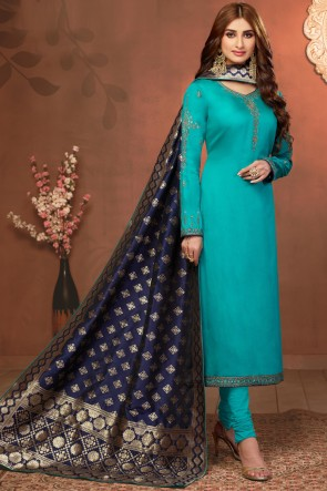 Sea Green Stone Work And Embroidered Cotton And Silk Salwar Suit With Jacquard Dupatta