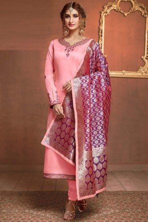 Appealing Baby Pink Stone And Embroidery Work Salwar Suit And Cotton Bottom