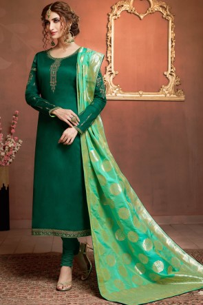 Admirable Silk And Cotton Green Salwar Suit With Jacquard Dupatta