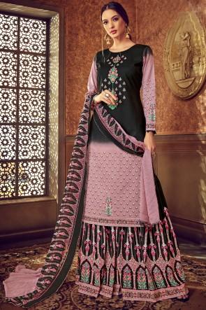 Baby Pink And Black Digital Print Cotton Fabric Lehenga Suit With Chiffon Dupatta