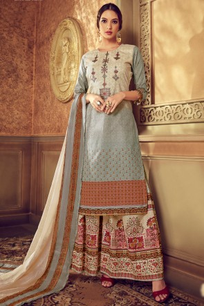 Digital Printed Cotton Cream And Grey Solid Plazzo Suit With Chiffon Dupatta