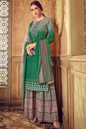 Grey And Green Cotton Fabric Digital Printed Plazzo Suit With Chiffon Dupatta