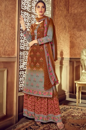 Marvelous Digital Printed Brown And Grey Cotton Designer Plazzo Suit