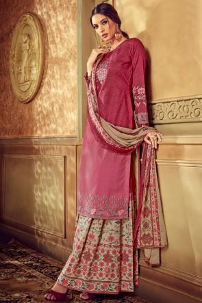 Cotton Fabric Maroon And Pink Digital Printed Plazzo Suit With Chiffon Nazmin Dupatta