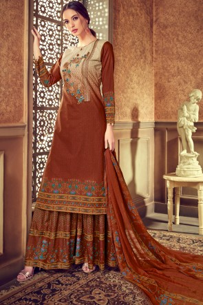 Supreme Digital Printed Brown And Cream Stylish Plazzo Suit And Cotton Bottom