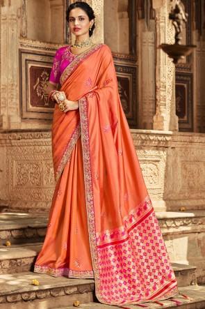 Lace And Zari Work Yellow Banarasi Silk Saree With Thread Work Blouse