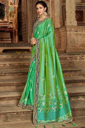Excellent Green Hand And Lace Work Jacquard Fabric Saree With Zari Work Blouse