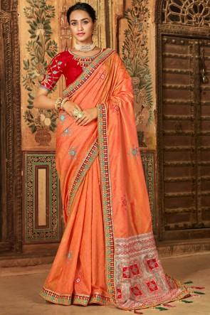 Orange Banarasi Silk Jacquard Thread And Lace Work Stylish Saree And Silk Blouse