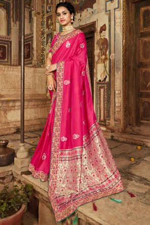 Party Wear Pink Thread And Hand Work Jacquard Saree With Zari Work Blouse