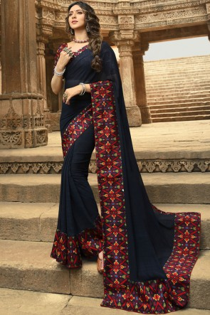 Stunning Navy Blue Georgette Printed And Lace Work Saree And Blouse