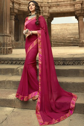 Classy Pink Lace Work And Printed Georgette Saree And Blouse