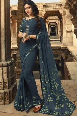 Supreme Grey Lace Work And Printed Georgette Saree And Blouse