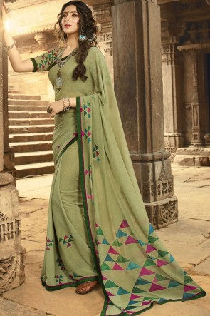 Heavy Designer Pista Printed And Border Work Georgette Saree And Blouse