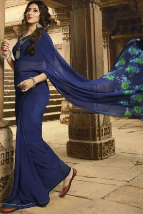 Delicate Blue Border Work Georgette Saree With Printed Blouse