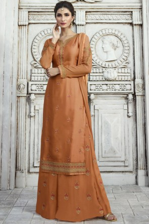 Excellent Embroidered And Stone Work Khaki Georgette Satin Plazzo Suit With Nazmin Dupatta