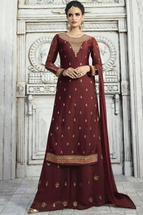 Beautiful Coffee Embroidered And Stone Work Georgette Satin Plazzo Suit With Nazmin Dupatta