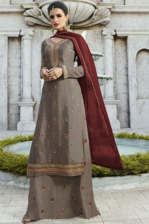 Fascinating Georgette Satin Grey Stone Work And Embroidered Plazzo Suit With Nazmin Dupatta
