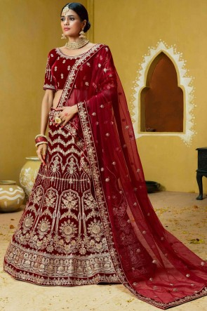 Excellent Embroidery And Coding Work Maroon Velvet Lehenga Choli With Net Dupatta