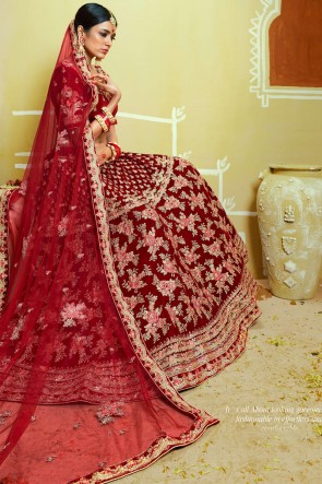 Thread And Stone Work Velvet Fabric Red Lehenga With Embroidery And Zari Work Blouse