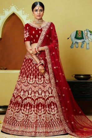 Zari And Thread Work Red Velvet Fabric Lehenga With Embroidery Work Blouse