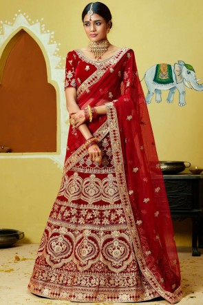 Red Velvet Fabric Coding And Zari Work Lehenga With Thread And Embroidery Work Blouse