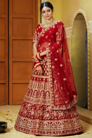 Velvet Fabric Zari And Embroidery Work Red Lehenga With Thread Work Blouse