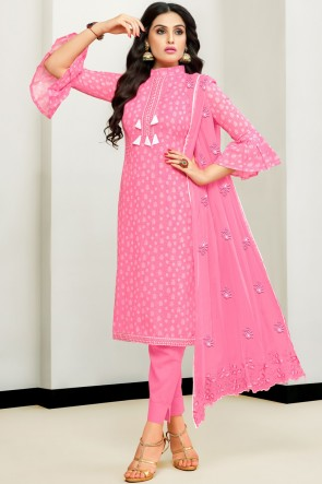 Classy Printed And Embroidered Pink Cotton Salwar Kameez With Nazmin Dupatta