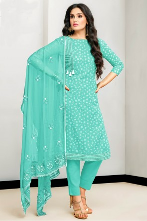 Excellent Embroidered And Printed Sea Green Cotton Salwar Kameez With Nazmin Dupatta