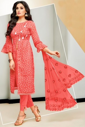 Stylish Satin And Cotton Red Printed And Embroidered Salwar Suit With Nazmin Dupatta