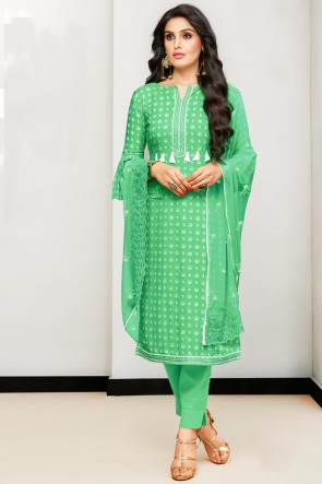 Heavy Designer Light Green Printed And Embroidered Cotton Casual Salwar Suit With Nazmin Dupatta