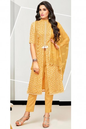 Graceful Musterd Embroidered And Printed Cotton Salwar Suit With Nazmin Dupatta