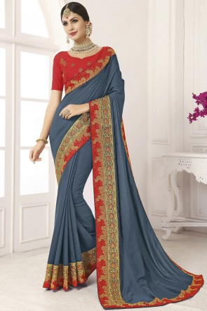 Heavy Designer Lace Work And Border Work Grey Silk Saree And Blouse