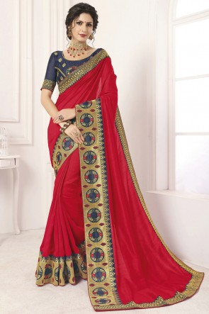 Desirable Border Work And Lace Work Red Silk Saree And Blouse