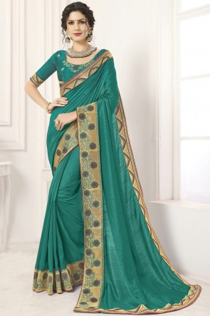 Optimum Sea Green Lace Work And Border Work Silk Saree And Blouse