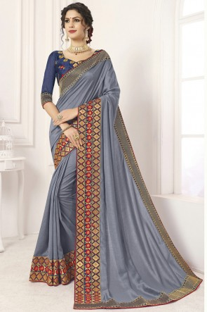 Admirable Grey Border Work And Lace Work Silk Saree And Blouse