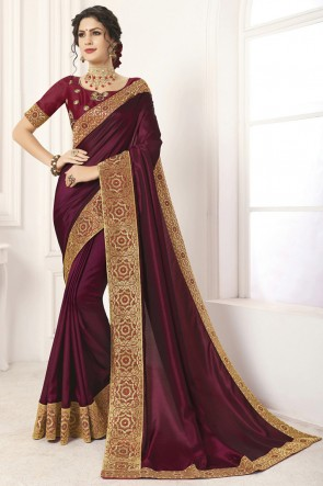 Gorgeous Maroon Border Work And Lace Work Silk Saree And Blouse